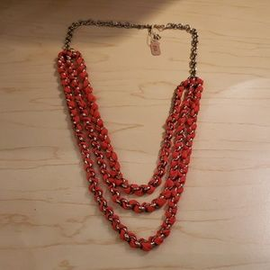 Coral Red Scarf and Woven Chain Adjustable Necklac